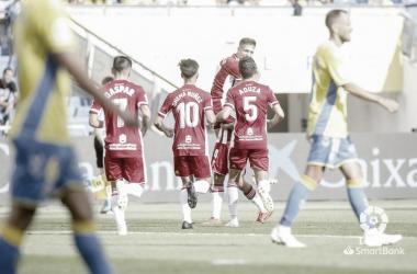 Celebración del gol de Romera | Fuente: Galería fotográfica LaLiga SmartBank