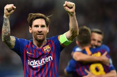 Messi celebrando la victoria. Foto: Champions League.