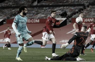 Mohamed Salah en acción durante un Clásico inglés