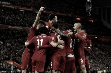 Liverpool celebrando frente al Manchester City | Fuente: Twitter Liverpool