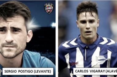 Sergi Postigo (Fuente: Levante UD) vs Carlos Vigaray (Fuente: Deportivo Alavés)