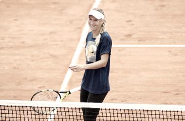Caroline Wozniacki en su sesión de entrenamiento en Roland Garros | Foto: zimbio.com