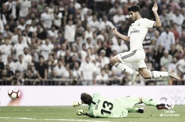 Oblak salva el 1-0 en el derby del pasado sábado. Fuente: LaLiga