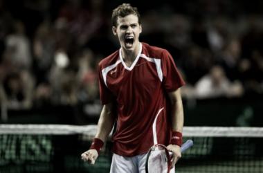 Vasek Pospisil celebrates during Canada's 2013 Davis Cup run. Photo: Darryl Dyck/The Canadian Press