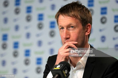 Graham Potter in his press conference when he was announced as Brighton manager. Image courtesy of Gareth Fuller from PA Images on Getty Images.