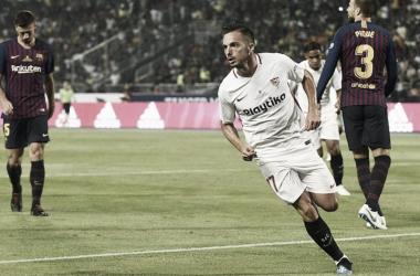 Sarabia marcó el gol inicial del encuentro. Foto: Sevilla FC.