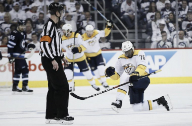 P.K. Subban celebrates his winning power play goal in Game 4. (Photo: John Woods/The Canadian Press via AP)