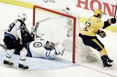 Kevin Fiala scoring the game winning goal in double overtime of Game 2. (Photo: Mark Humphrey, The Associated Press)