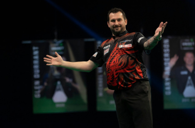 Jonny Clayton continued his fine form with a perfect 9-darter on Night 3 of the first round of Premier League matches (Photo: Lawrence Lustig/PDC)