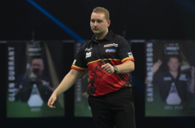 Dimitri Van den Bergh won his first ever floor title on day four of the PDC Super Series. (Photo credit: Lawrence Lustig/PDC)
