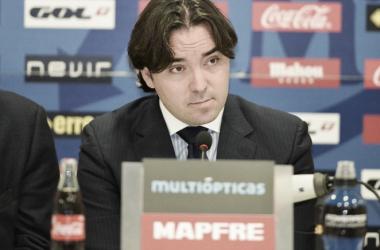 Martín Presa durante una rueda de prensa | Fotografía: Rayo Vallecano S.A.D.