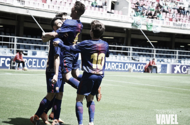 El FCB Juvenil A celebrando un gol ante el Real Betis. Foto: Noelia Déniz, VAVEL