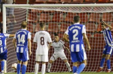 Foto del gol de Domingos Duarte en la primera jornada de Liga 123. || Fotografía: Deportivo.