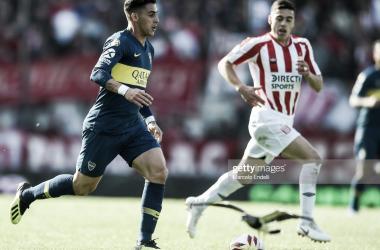 """Cristian Pavón, jugador de Boca, en el ultimo encuentro del """"Xeneize"""" frente al Pincha en La Plata."""