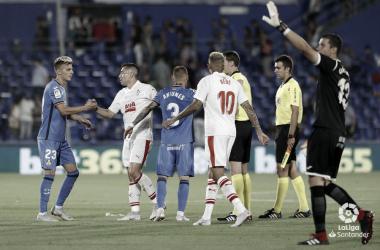 Imagen del partido de la primera vuelta en el Coliseum Alfonso Pérez (FOTO:// LaLiga)