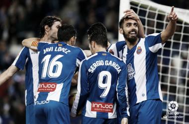 Los jugadores pericos celebran el gol conseguido ante el Athletic la pasada jornada / Foto: LaLiga.
