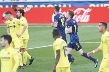 Villarreal y Cádiz en un encuentro de la pasada temporada. / Fuente: @Cadiz_CF