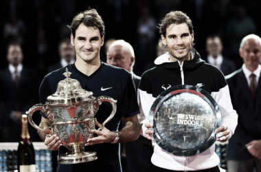 Last year's finalists Roger Federer (left) and Rafael Nadal hold their trophies in Basel. Photo: ATP World Tour