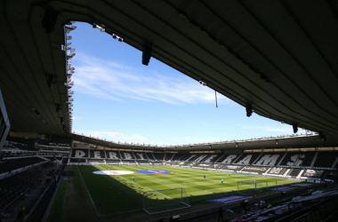 General view inside of the stadium ahead of the Sky Bet Championship match between Derby County and Birmingham City at Pride Park Stadium on April 24, 2021 in Derby, England. Sporting stadiums around the UK remain under strict restrictions due to the Coronavirus Pandemic as Government social distancing laws prohibit fans inside venues resulting in games being played behind closed doors. (Photo by Alex Livesey/Getty Images)