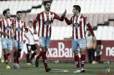 Bernardo celebrando su tanto ante el Sevilla Atl // Fuente: LFP