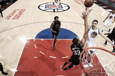 Klay Thompson foi o cestinha do confronto (Foto: Divulgação/ NBA)