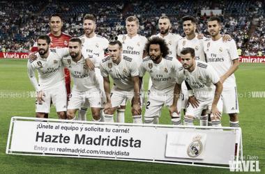 Los jugadores del Real Madrid antes de un partido de liga | Foto: Daniel Nieto (VAVEL)