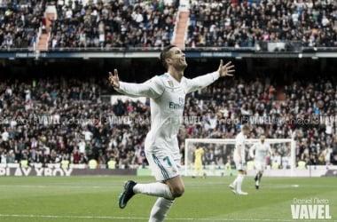 Ronaldo celebra su primer gol ante el Sevilla ayer | Foto: Daniel Nieto (VAVEL)
