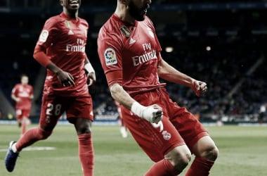 Vinicius y Benzema durante el partido frente al Espanyol   Foto: Realmadrid.com