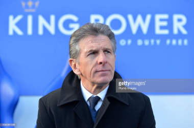 Claude Puel during Leicester City's defeat to Manchester United | Photo: Getty/ Plumb Images