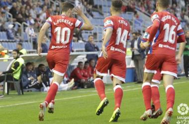 Puertas, celebrando su último gol frente al Tenerife. Foto: Granada CF
