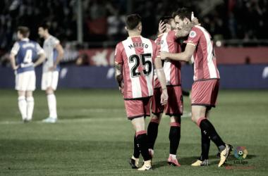 Futbolistas del Girona celebrando el gol del empate. (Foto: LaLiga)