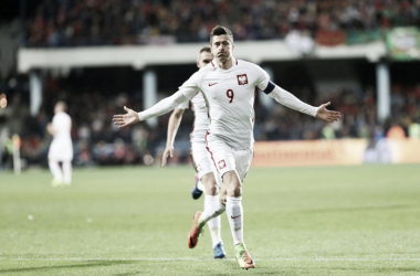 Lewandowski festeggia il momentaneo 0-1. | Fonte immagine: Twitter @pzpn_pl