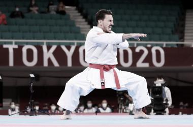 Damian Quntero durante la disputa de su kata. (Fuente: Agencia EFE)