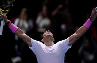 Nadal exults as he celebrates his epic comeback against Medvedev/Photo: Reuters