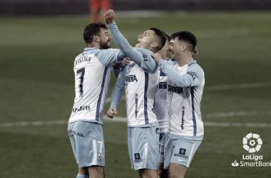 Y. Rahmani celebrando el gol con sus compañeros./ Foto: LaLiga