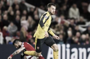 Ramsey en una acción durante el partido | Fotografía: Arsenal