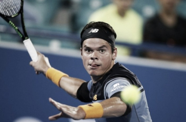 Milos Raonic eyes a forehand during his semifinal win this year in Abu Dhabi. Photo: Ali Haider/AP