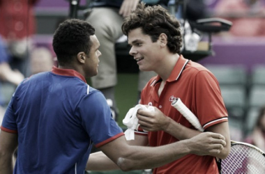 Raonic and Tsonga shake hands at the net following their epic encounter at the London Olympics in 2012 (Source : AP)