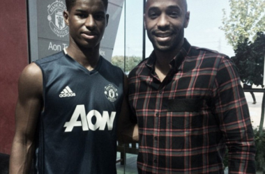 Marcus Rashford pictured with Thierry Henry this week (Photo: Instagram / Sky Sports)