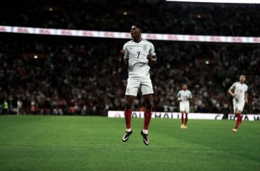 Rashford celebra su gol que dio la victoria a la selección inglesa | Foto: The FA