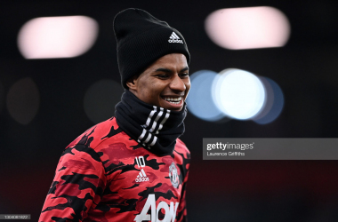 <div>MANCHESTER, ENGLAND - FEBRUARY 25: Marcus Rashford of Manchester United warms up ahead of the UEFA Europa League Round of 32 match between Manchester United and Real Sociedad at Old Trafford on February 25, 2021 in Manchester, England. (Photo by Laurence Griffiths/Getty Images)</div>