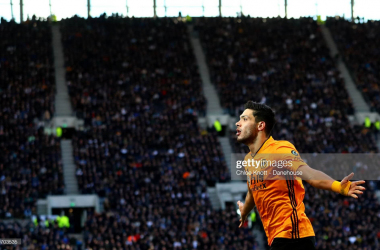 Raul Jimenez celebrates after putting Wolves 3-2 up at the Tottenham Hotspur Stadium in 2020. (Photo by Chloe Knott - Danehouse/Getty Images)