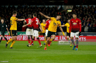 Raul Jimenez celebrates after putting Wolves 1-0 up against Manchester United in the 2019 FA Cup quarter final. (Photo by Malcolm Couzens/Getty Images)
