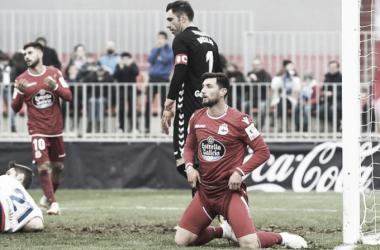 Borja Valle lamentándose de una ocasión fallada frente al Rayo Majadahonda II Fotografía: R.C.Deportivo