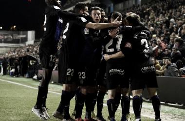 Los jugadores del Leganés festejando el segundo gol | Foto: CD Leganés