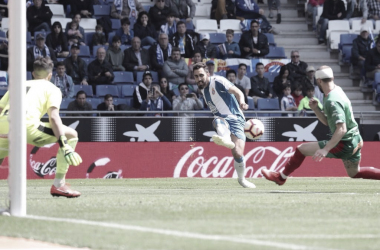 Borja Iglesias en una jugada del partido. Foto: RCD Espanyol