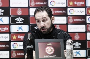 Imagen de Pablo Machín en rueda de prensa esta mañana. | Foto: Girona FC