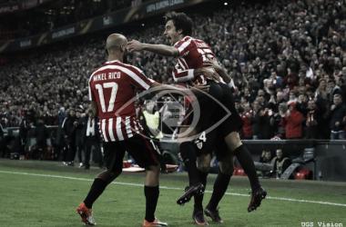 Mikel Rico celebra un tanto en la Europa League. | UGS Vision.