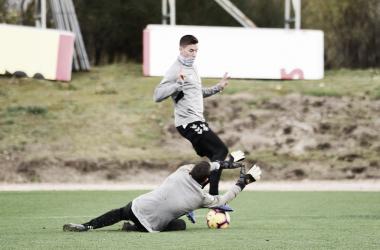 Masip y Alcaraz durante un entrenamiento | Real Valladolid