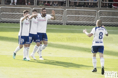 Celebrando uno de los goles del partido frente al Albacete | Foto: Andrea Royo (VAVEL)